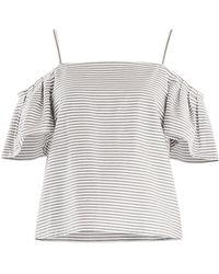 Paisie - Striped Cold Shoulder Crop Top With Shoulder Pleats - Lyst