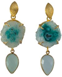 Magpie Rose - Aqua Double Drop Cocktail Earrings - Lyst