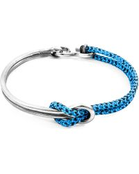 Anchor & Crew - Blue Noir Tay Silver & Rope Half Bangle - Lyst