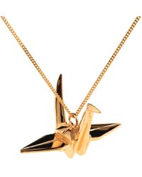 Origami Jewellery - Crane Necklace Rose Gold - Lyst