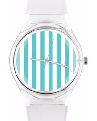 May28th | 05:44pm Turquoise & White Stripe Watch | Lyst