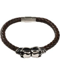 LÁTELITA London - Brown Leather Skull Bracelet Silver - Lyst