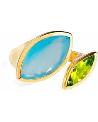 Neola - Celestine Gold Ring Chalcedony & Peridot - Lyst
