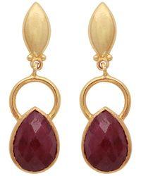 Carousel Jewels - Gold Ring & Teardrop Dyed Ruby Earrings - Lyst