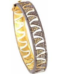 Meghna Jewels - Claw Bangle Champagne Diamonds & Yellow Sapphire - Lyst
