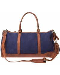 MAHI Leather | Canvas Leather Columbus Holdall/duffle Weekend/overnight Bag In Navy Blue | Lyst