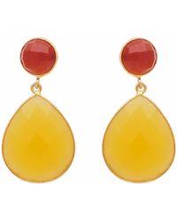 Carousel Jewels - Carnelian & Yellow Chalcedony Double Drop Earrings - Lyst