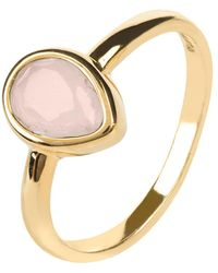 LÁTELITA London - Pisa Mini Teardrop Ring Gold Rose Quartz - Lyst