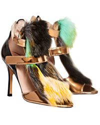 De Siena - Ayla Velcro Strap Multicolor Fake Fur Sandals - Lyst
