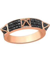 Artisan - 18k Gold Spike Ring With Black Pave Diamond - Lyst
