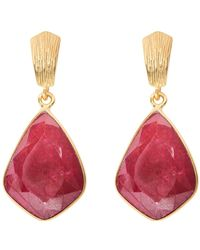 Juvi Designs - Glamour Puss Earrings With Ruby - Lyst