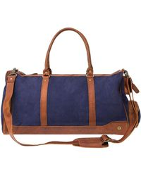 MAHI - Canvas Leather Columbus Holdall Bag In Navy Blue - Lyst