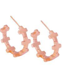 Amberly Cross - Hoop Earrings Shiny Rose Gold - Lyst