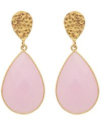Carousel Jewels - Double Drop Rose Quartz & Golden Nugget Earrings - Lyst