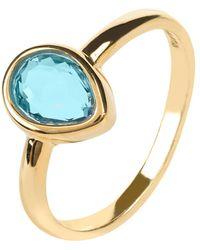 LÁTELITA London - Pisa Mini Teardrop Ring Gold Blue Topaz Hydro - Lyst