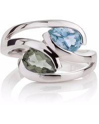 Manja | Green Amethyst & Blue Topaz Love Birds Ring | Lyst