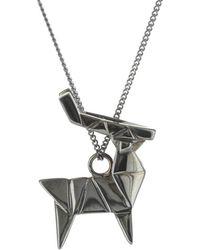 Origami Jewellery - Deer Necklace Gun Metal - Lyst