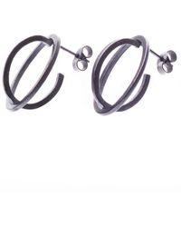 Nancy Rose Jewellery - Oxidised Ellipse Silver Stud Earrings - Lyst