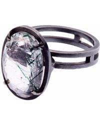 Nancy Rose Jewellery - Green Rutilated Quartz Ellipse Ring - Lyst