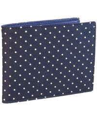 40 Colori | Navy-white Dotted Silk & Leather Billfold & Coin Wallet | Lyst
