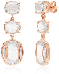Alexandra Alberta - Yellow Gold Plated Lexington Earrings With Rock Crystal - Lyst