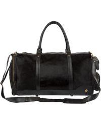 MAHI - Leather Columbus Duffle Overnight Bag In Ebony Black Pony Hair - Lyst