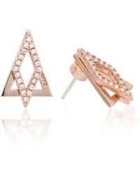 Astrid & Miyu - Diamond Ear Jacket In Rose Gold - Lyst