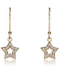 Kaizarin Dangly Starry Earrings In Yellow Gold