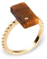 Ona Chan Jewelry | Rectangular Ring With Beading Shank Tiger's Eye | Lyst