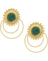 Ottoman Hands - Chianti Turquoise Statement Flower Earrings - Lyst