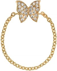 Talia Naomi - Fly Away With Me Chain Ring Gold - Lyst