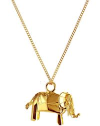 Origami Jewellery - Mini Elephant Necklace Gold - Lyst
