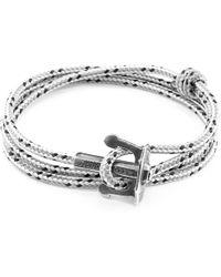 Anchor & Crew - Grey Dash Union Anchor Silver & Rope Bracelet - Lyst