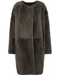 Gushlow and Cole - Khaki Collarless Shearling Over Coat - Lyst