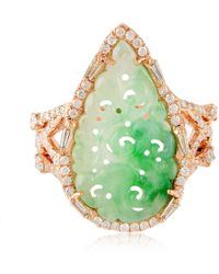 Artisan - 18k Rose Gold Carved Jade Ring With Diamonds - Lyst