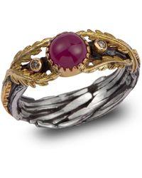 Emma Chapman Jewels - Lattice Ruby & Diamond Gold Ring - Lyst