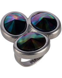 Nadia Minkoff - Oval Triple Ring Matt Gunmetal Rainbow Dark - Lyst