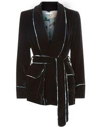 Klements - Carrie Smoking Jacket In Black Velvet & Silk Printed Lining - Lyst