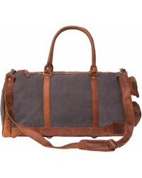 MAHI - Canvas Leather Columbus Holdall Bag In Grey - Lyst