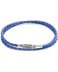 Anchor & Crew - Royal Blue Liverpool Silver & Braided Leather Bracelet - Lyst