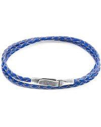 Anchor & Crew - Royal Blue Liverpool Silver & Leather Bracelet - Lyst
