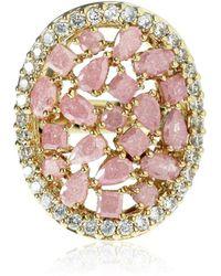 Cielle - Spring Snow Round Statement Cocktail Ring Pink - Lyst