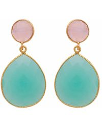 Carousel Jewels - Rose Quartz & Aqua Chalcedony Double Drop Earrings - Lyst