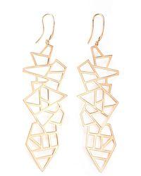 Ona Chan Jewelry - Long Multi Lattice Drop Earrings Rose Gold - Lyst
