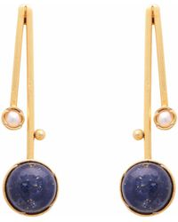 Carousel Jewels - Blue Lapis & Pearl Drop Earrings - Lyst