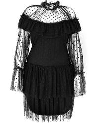 LEFON New York - Polka-dot High Neck Mini Dress - Lyst