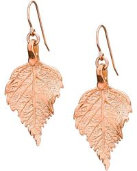 Chupi - Tiny Raspberry Leaf Earrings Rose Gold - Lyst