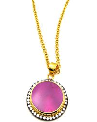 Meghna Jewels - Pink Round Druzy Necklace - Lyst