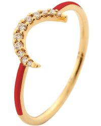 Eshvi - Half Moon Red Ring - Lyst