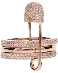 Opes Robur - Rose Gold Safety Pin Ring - Lyst
